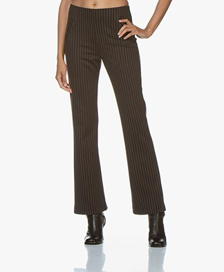 no man's land Striped Jersey Pants - Fondente