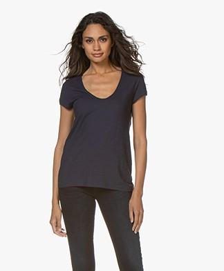 Drykorn Avivi Slub Jersey T-shirt - Donkerblauw