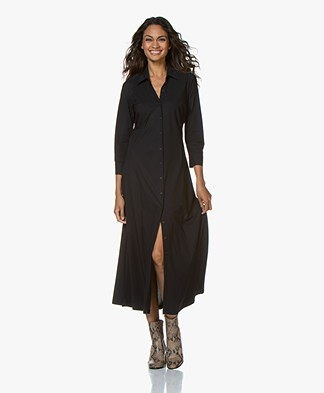 no man's land Tech Jersey Maxi Shirt Dress - Blue Black