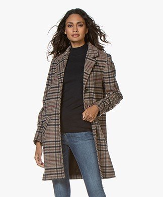 no man's land Checkered Wool Blend Coat - Mushroom