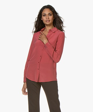no man's land Washed Silk Blouse - Carmine