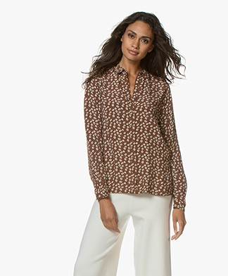 indi & cold Viscose Bloemenprint Blouse - Café