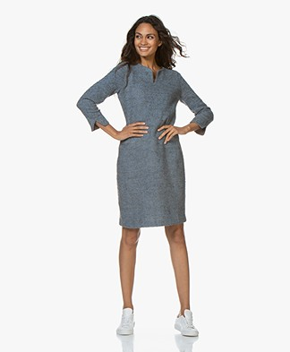 Belluna Vinci Wool Blend Boucle Dress - Grey/Blue