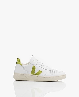 VEJA V-10 Leather Sneakers - Extra White/Pagi
