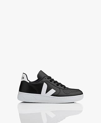 VEJA V-10 Leather Sneakers - Black/White