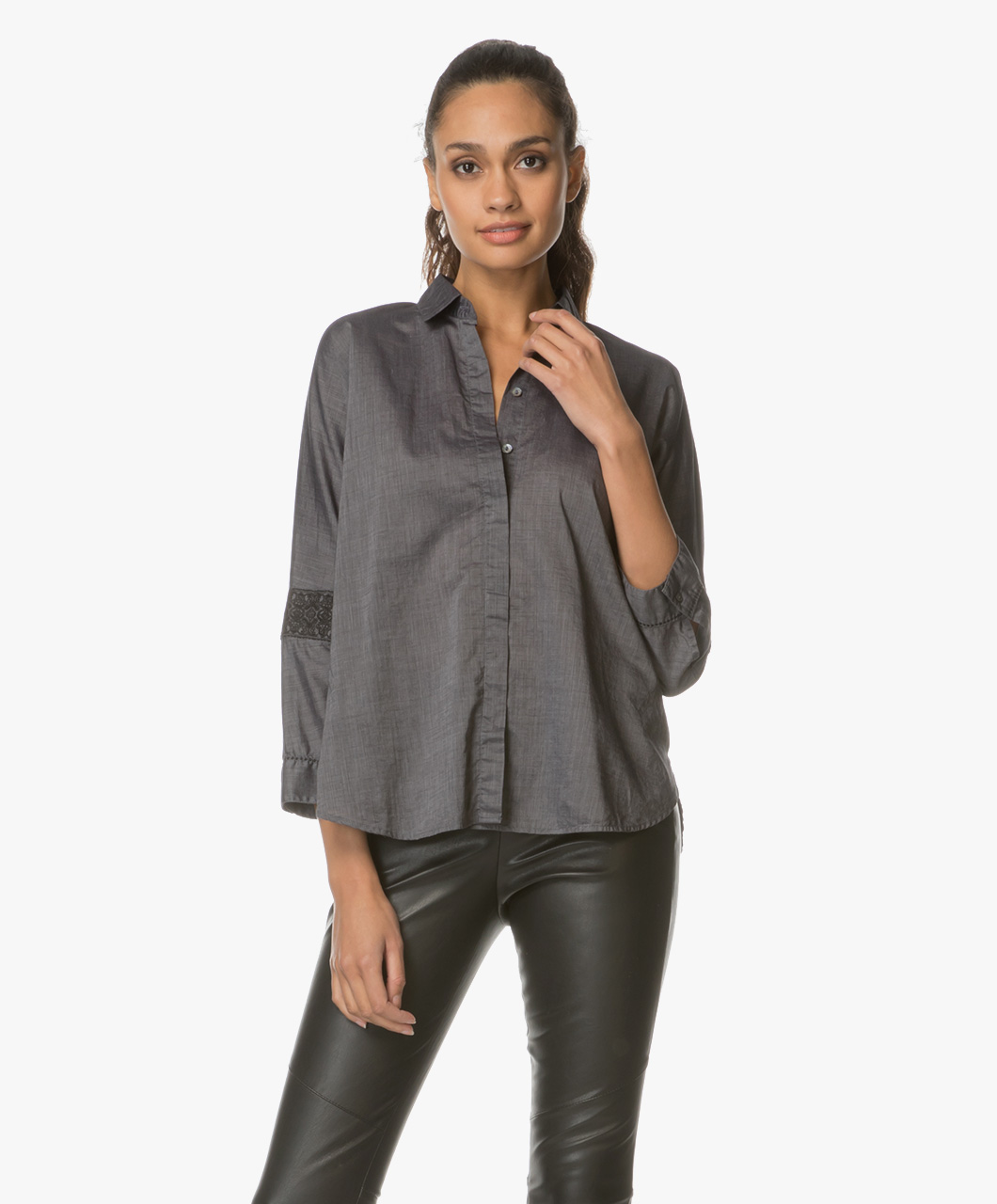 boss orange emaxi blouse met borduursels grijs zwart emaxi 50378008 001. Black Bedroom Furniture Sets. Home Design Ideas