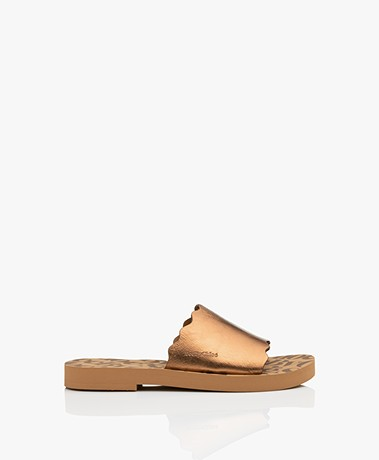 See by Chloé Essie Leather Slippers - Bronze Metallic