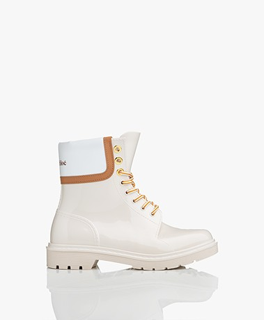 See by Chloé Florrie Lace-up Rain Boots - Cream