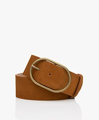 ba&sh Cole Suede Leather Belt - Cognac