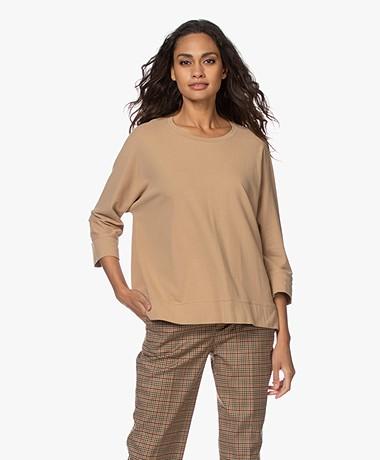 Drykorn Lenilia T-shirt met Driekwart Mouwen - Warm Sand