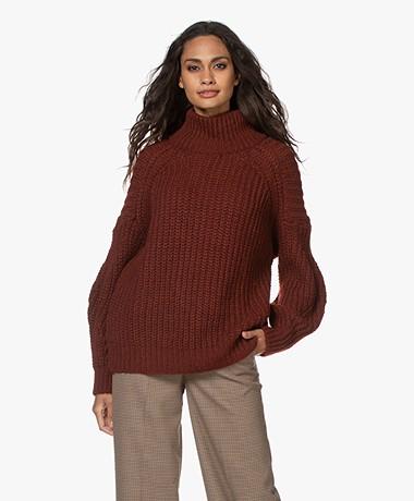 ba&sh Buffy Oversized Alpaca Mix Turtleneck Sweater - Wine
