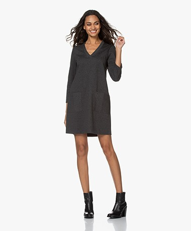 indi & cold Lili Herringbone Jersey Dress - Grey/Black