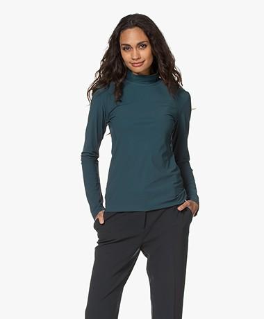 Woman by Earn Olive Tech Jersey Colshirt - Donkergroen