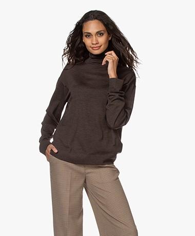 Drykorn Aluna Fine Knit Turtleneck Sweater - Espresso