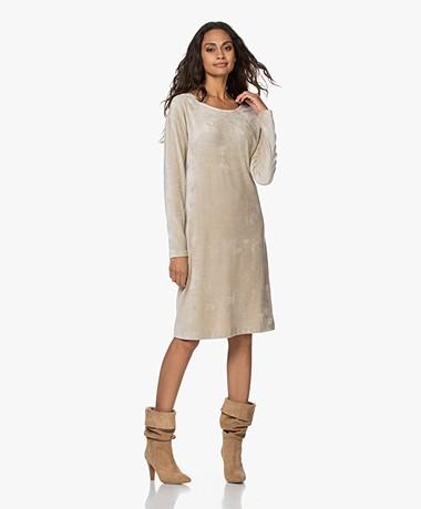 no man's land Velvet Jersey Dress - Beige