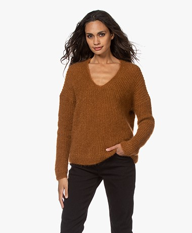 Pomandère Mohair Blend V-neck Sweater - Brown