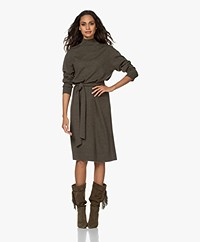Repeat Knitted Wool Blend Funnel Neck Dress - Khaki