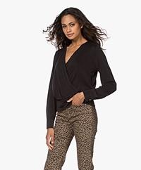Plein Publique Le Nimes Modal Blend Wrap Long Sleeve - Black