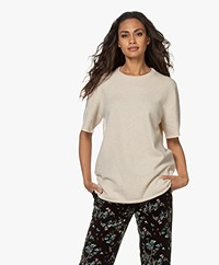 extreme cashmere N°64 Long Knitted Cashmere T-shirt - Latte
