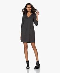 indi & cold Lili Herringbone Jersey Dress - Grey/Black