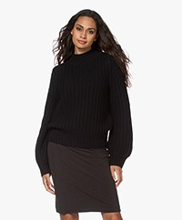 Repeat Luxury Cashmere Fisherman's Sweater - Black