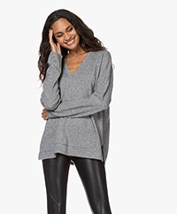 Repeat Wool and Cashmere V-neck Sweater - Light Grey Melange
