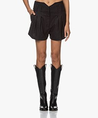 IRO Sherlina Wool Blend Tick Stripe Shorts - Black