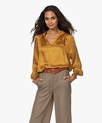 MKT Studio Havan Satin Slit Neck Blouse - Ochre Yellow