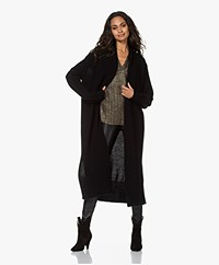 LaSalle Long Open Wool Blend Cardigan - Black