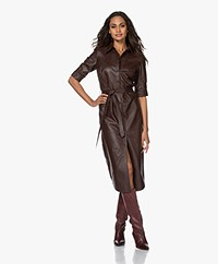 FRAME 70s Lamb Leather Midi Shirt Dress - Espresso