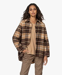 Drykorn Landen Checkered Wool Blend Jacket - Brown