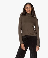 Repeat Jersey Long Sleeve with Smocked Turtleneck - Khaki
