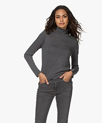 Repeat Jersey Long Sleeve with Smocked Turtleneck - Dark Grey