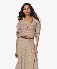 Pomandère Checkered Seersucker Cotton-Wool Blend Shirt - Copper