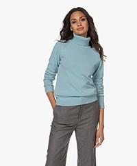 Belluna Hunt Wool-Cashmere Blend Turtleneck Sweater - Aqua