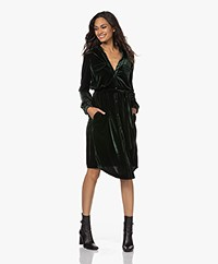 Woman by Earn Tess Fancy Velvet Shirt Dress - Dark Green