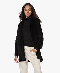 Majestic Filatures Stretch Velvet Belted Blazer - Black