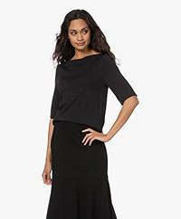 LaSalle Short Sleeve Boat Neck Sweater - Black