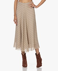 Pomandère Checkered Seersucker Cotton-Wool Blend Skirt - Copper