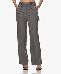 ba&sh Bao Viscose and Wool Blend Pants - Anthracite Melange
