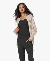 Repeat Cotton and Viscose Blend Zipper Cardigan - Light Beige