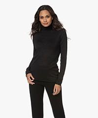 Woman by Earn Beau Viscose Blend Lurex Turtleneck Longsleeve - Black