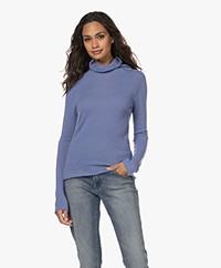 Belluna Caress Cashmere Turtleneck Sweater - Blue