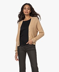 Repeat V-neck Cardigan in Organic Cotton and Cashmere - Camel