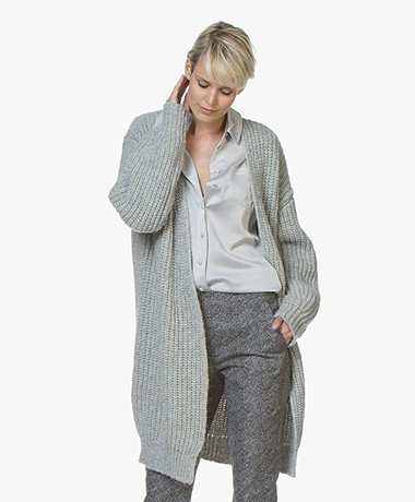 BOSS Wevelina Oversized Wool Blend Cardigan - Silver