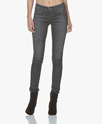 Denham Spray Super Tight Fit Jeans met Verfspatten - Grijs