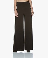 Norma Kamali Side Stripe Travel Jersey Elephant Pant - Black/Ivory