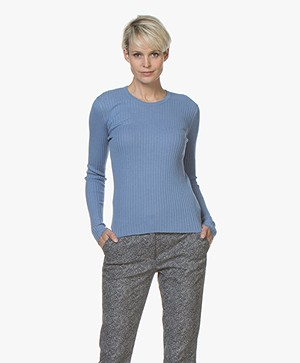 Filippa K Flat Rib R-neck Sweater - Paris Blue