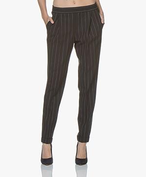 BOSS Ariyesa Loose-fit Pinstripe Pants - Black/Off-white