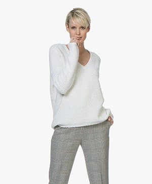 BOSS Iviola Bouclé V-neck Sweater - White